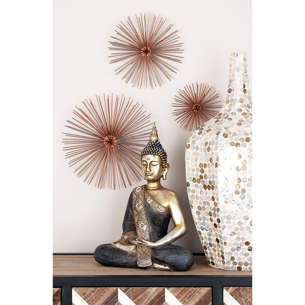 Most Current Metal Wall Décor By Cosmoliving Intended For Cosmolivingcosmopolitan Industrial Arts Iron Copper Brown Starburst Wall Decor (set Of 3) 50373 – The Home Depot (View 15 of 20)