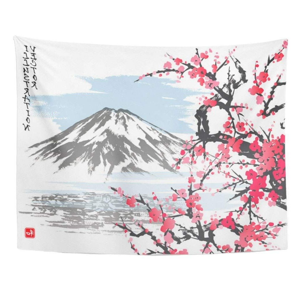 Most Current Watercolor Mountain Fuji And Spring Oriental Cherry Blossoms Within Blended Fabric Spring Blossom Tapestries (View 12 of 20)