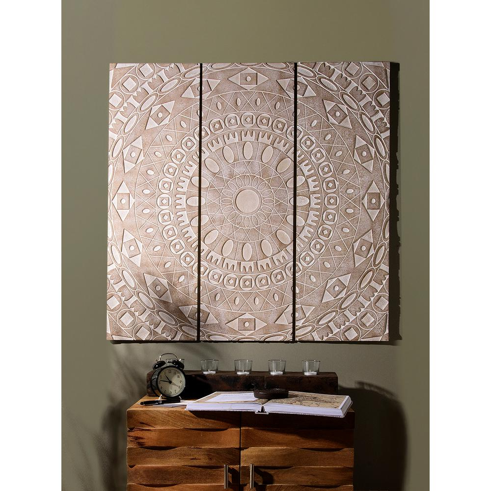 Most Popular 3 Piece Carved Ornate Wall Décor Set With Regard To Best Home Fashion 3 Piece Natural Carved Wood Rustic Wall Panel Set Wall Rr11 White – The Home Depot (View 10 of 20)