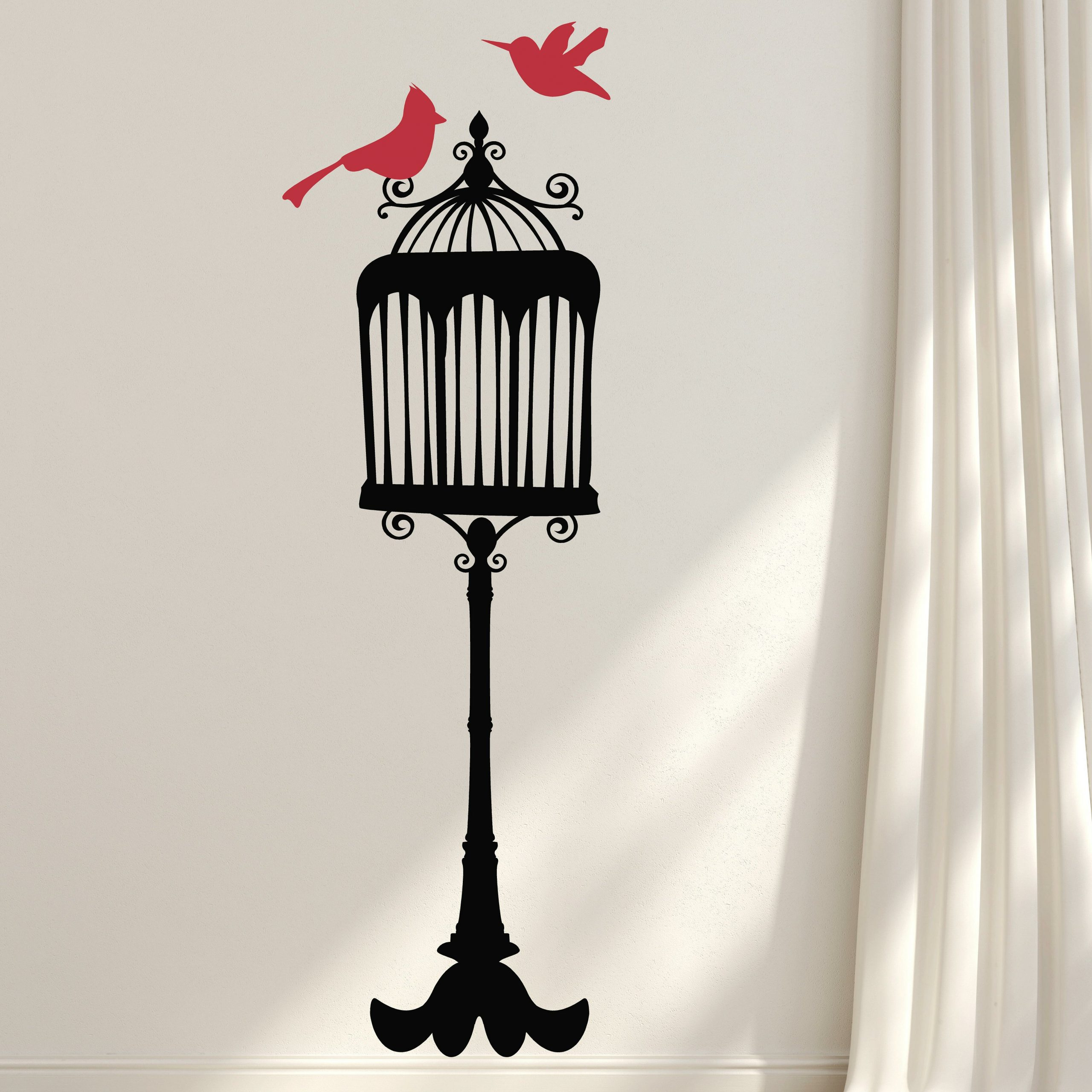 Most Popular Birds On A Wire Wall Décor By Winston Porter Within Incredible Red Bird Wall Decal (View 16 of 20)