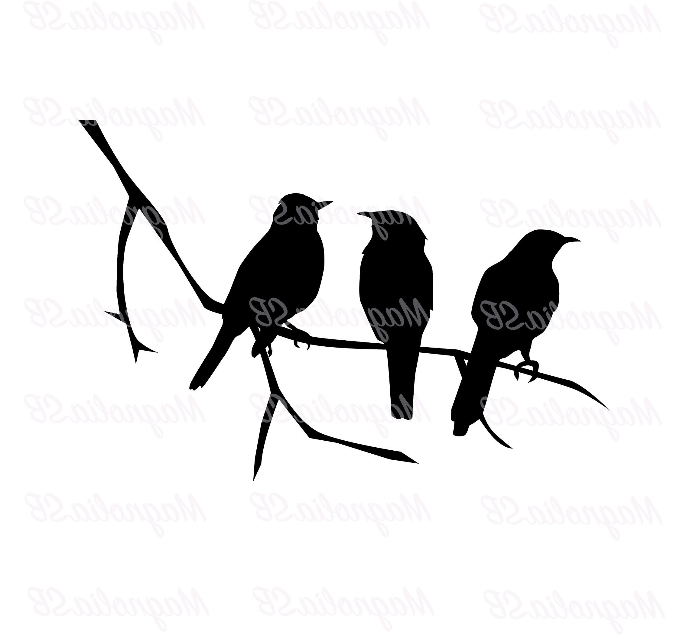 Most Popular Birds On The Tree Branch Svg Birds Dxf Birds Clipart Bird Inside Birds On A Wire Wall Décor By Winston Porter (View 11 of 20)