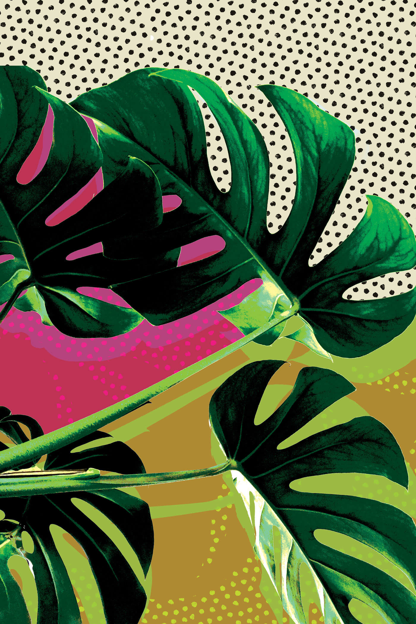 Most Popular Blended Fabric Leaves Wall Hangings Inside Monstera Pop Wall Art (View 9 of 20)