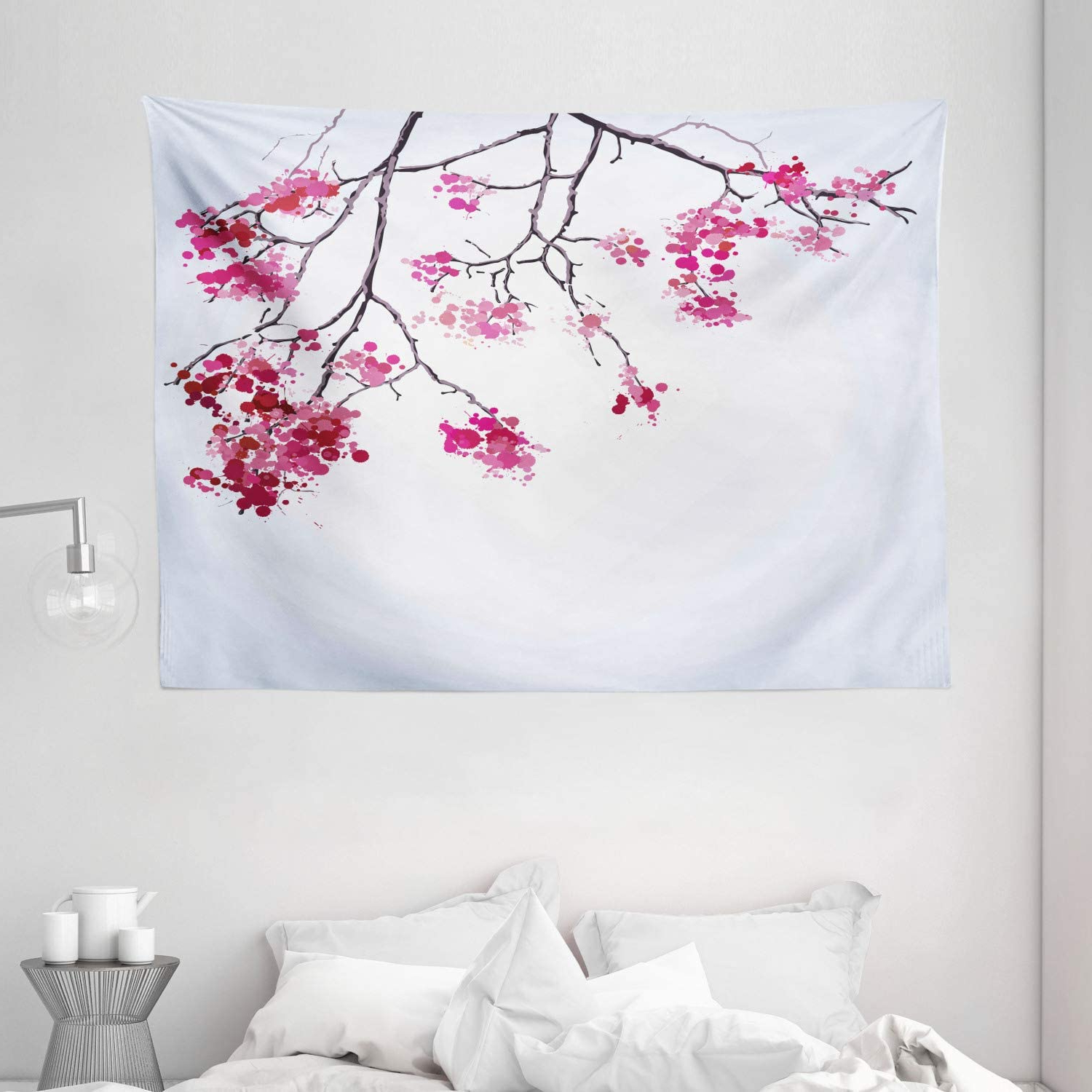 """Most Popular Blended Fabric Spring Party Wall Hangings Pertaining To Ambesonne Japanese Tapestry, Cherry Blossom Sakura Tree Floral Branch Spring Season Theme Image, Wide Wall Hanging For Bedroom Living Room Dorm, 80"""" X (View 6 of 20)"""
