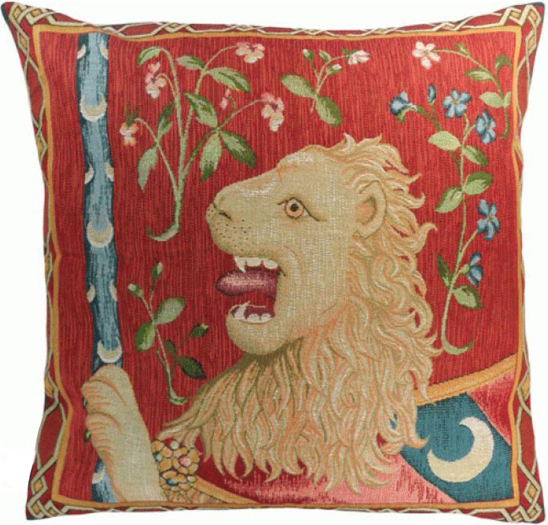 Most Popular Lion I European Tapestries Throughout Le Lion Medieval European Cushion (View 14 of 20)