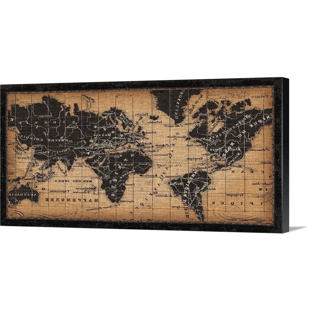Most Popular 'old World Map Graphic Art Print Within Wall Mounted World Map Sculpture By Alcott Hill (View 3 of 20)