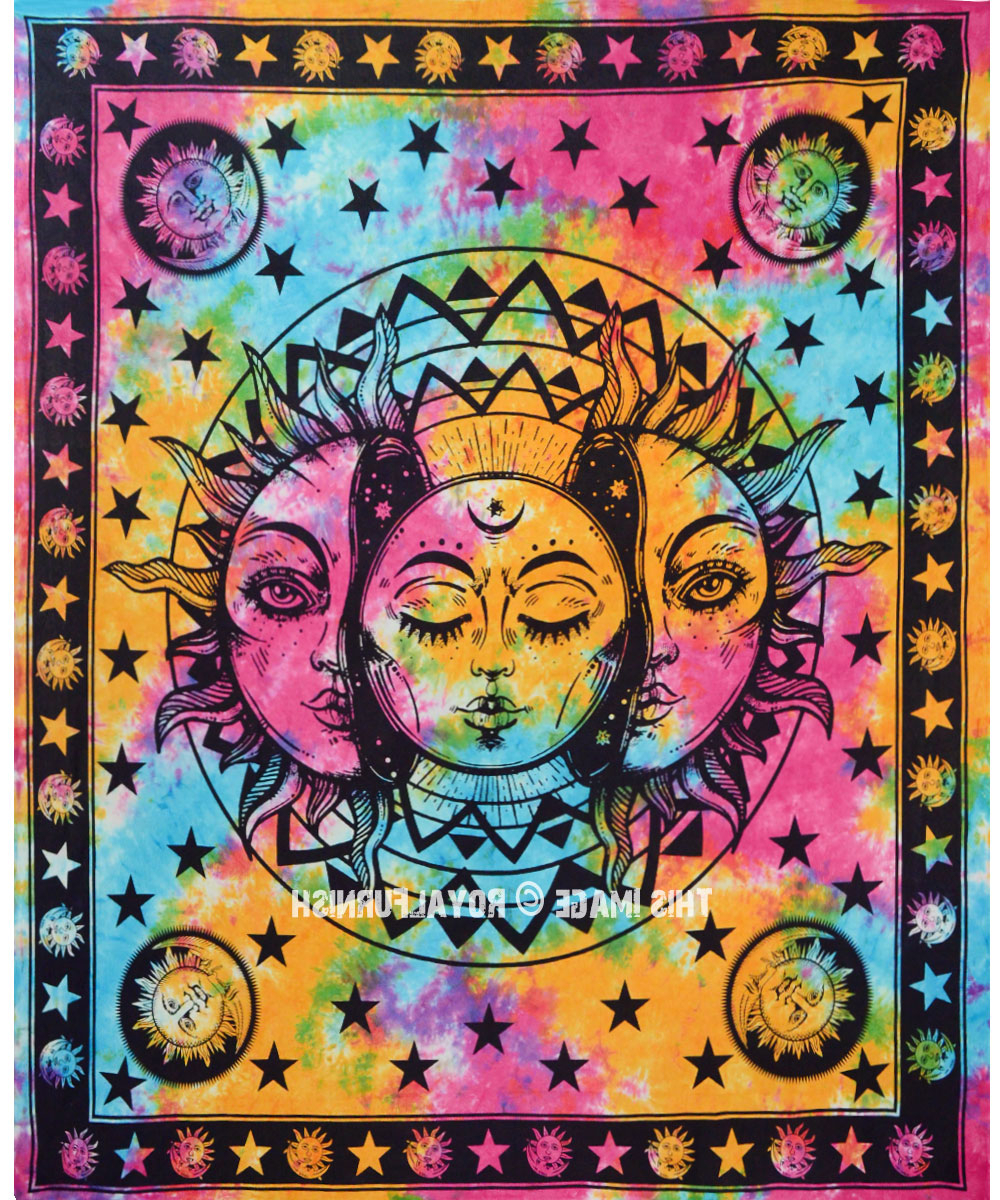 Most Popular Psychedelic Sun & Moon Celestial Energy Mystic Art Printed Tapestry Wall Hanging With Regard To Blended Fabric Celestial Wall Hangings (set Of 3) (View 4 of 20)