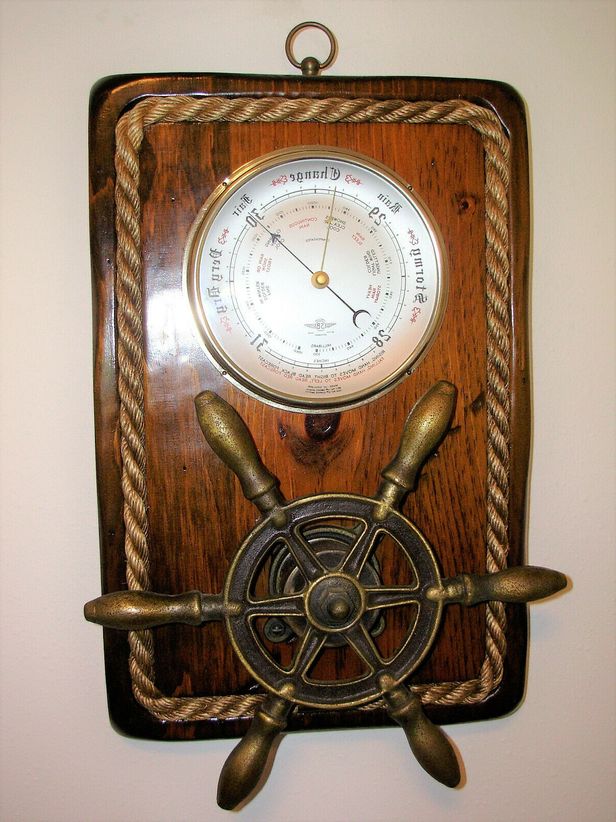 Most Popular Rare Vintage Nautical Barometer Wall Decor With Ship Wheel With Brown/brass Wood Ship Wheel Wall Décor (View 19 of 20)
