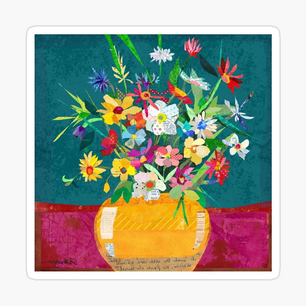 Most Popular Whimsical Flower Wall Décor With Regard To Whimsical Collage Flower Pot Still Life Fine Art Wall Decor (View 16 of 20)