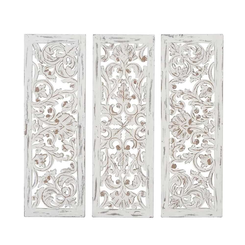 Most Recent 3 Piece Carved Ornate Wall Décor Set In Madigan Distressed 3 Piece Carved Ornate Wall Décor Set (View 3 of 20)