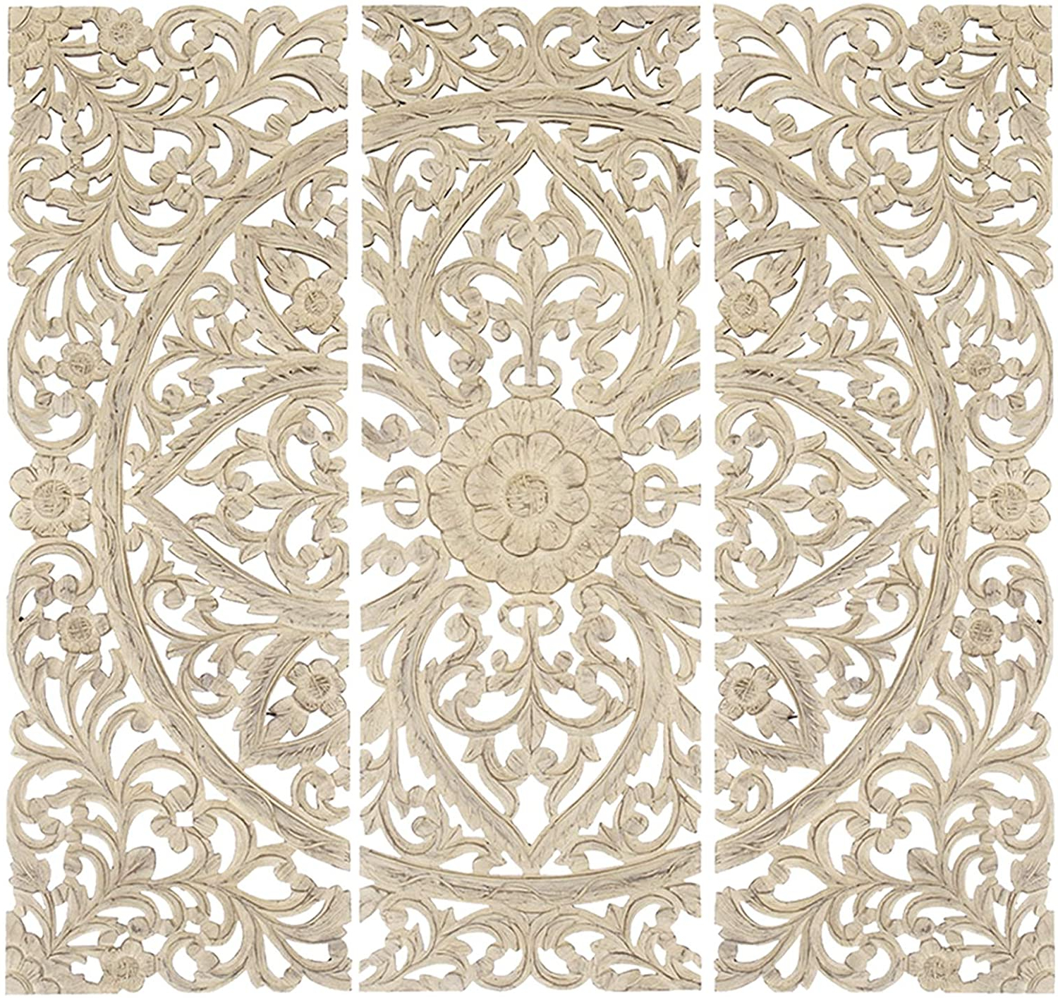 Most Recent Benzara Bm00070 Floral Hand Carved Wooden Wall Plaque, Antique White, Set Of 3 Regarding 3 Piece Carved Ornate Wall Décor Set (View 13 of 20)