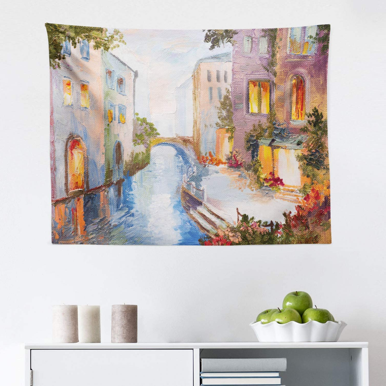 Most Recent Blended Fabric Italian Wall Hangings With Lunarable Venice Tapestry, Historical City Vintage Houses Water Canal Venice Italy Oil Painting, Fabric Wall Hanging Decor For Bedroom Living Room (View 5 of 20)