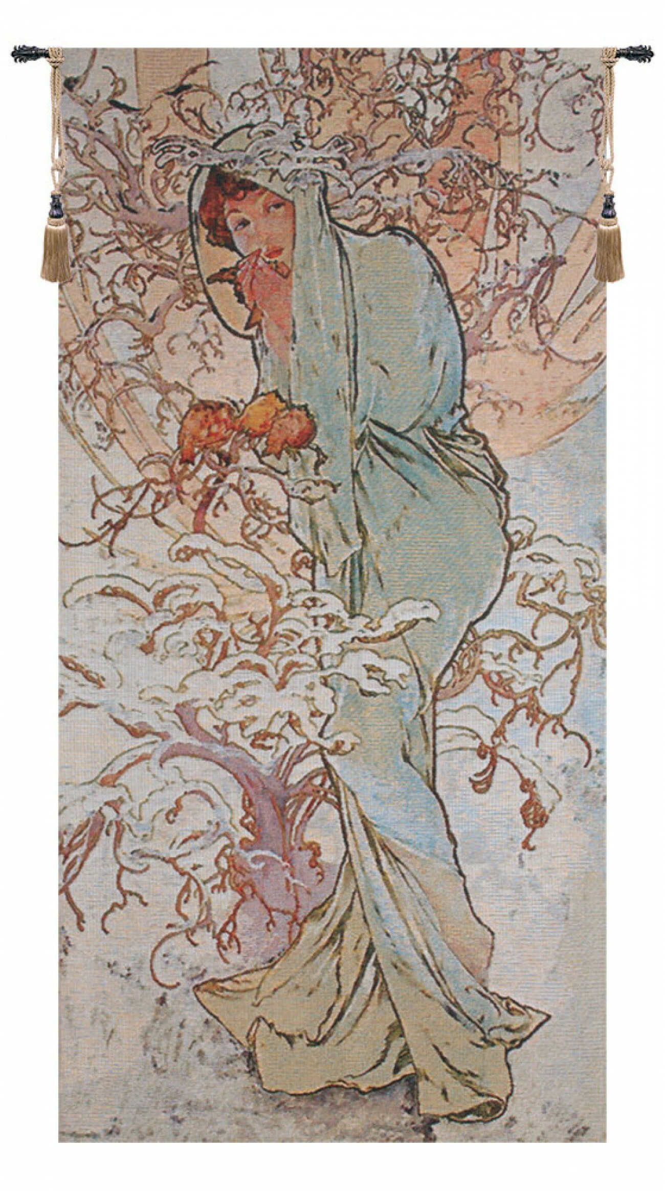 Most Recent Blended Fabric Mucha Autumn European Wall Hangings Intended For Wintermucha Tapestry (View 7 of 20)