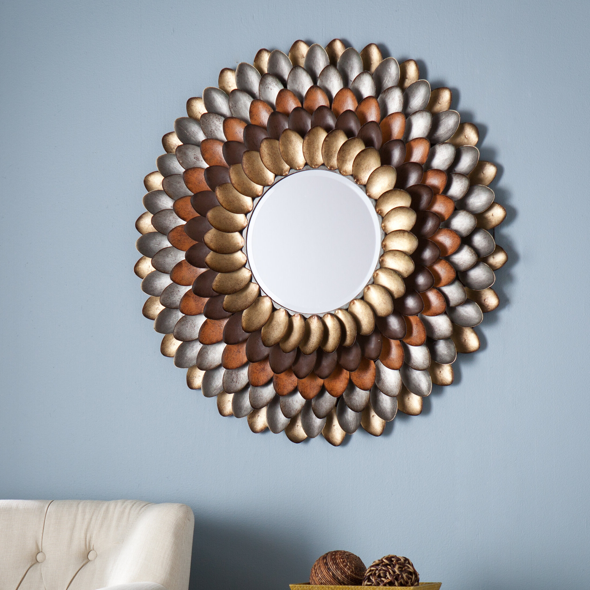Most Recent Decorative Round Wall Mirror Within Believe Metal Wall Décor By Red Barrel Studio (View 11 of 20)