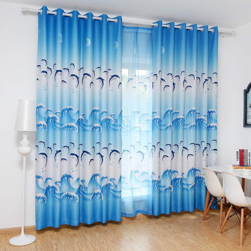 Most Recent Fleta Panel Wall Décor Inside Buy Prosperveil Blackout Curtain Eyelet Blue Dolphins (View 20 of 20)