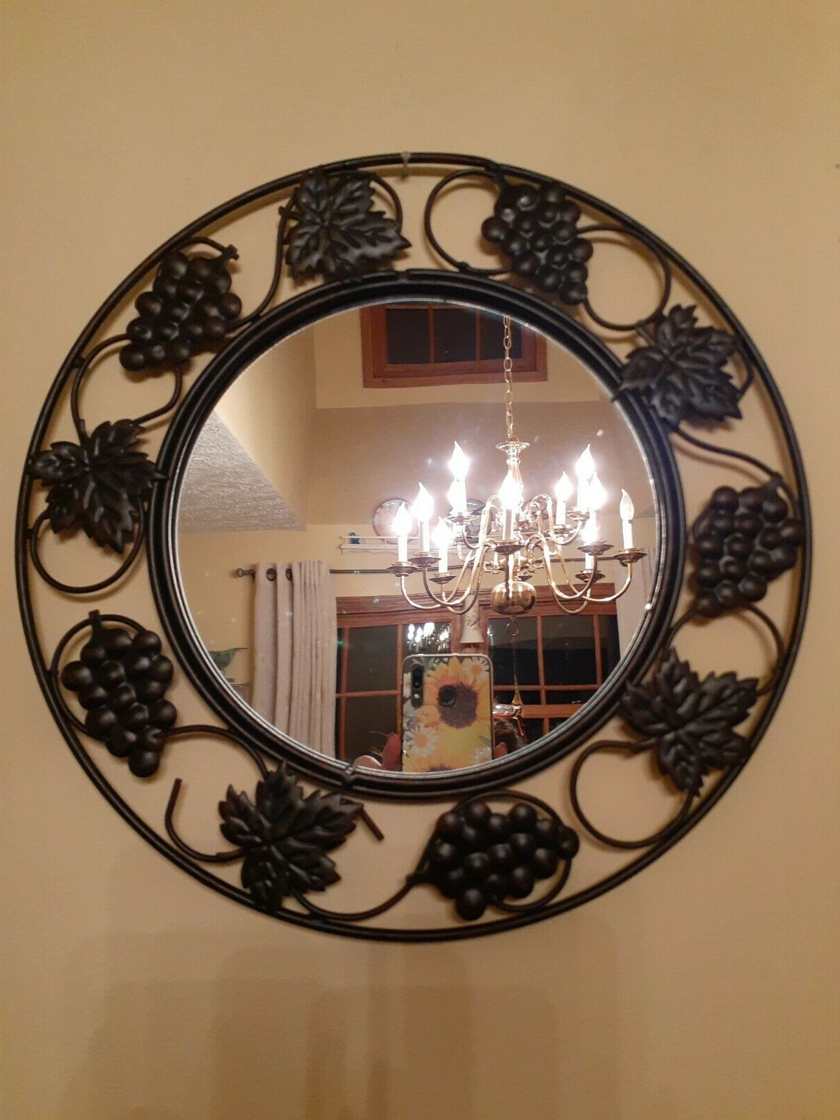 Most Recent Metal Wall Décor By Charlton Home Intended For Metal Round Grapevine Leaf Hanging Wall Accent Mirror Home Decor (View 11 of 20)