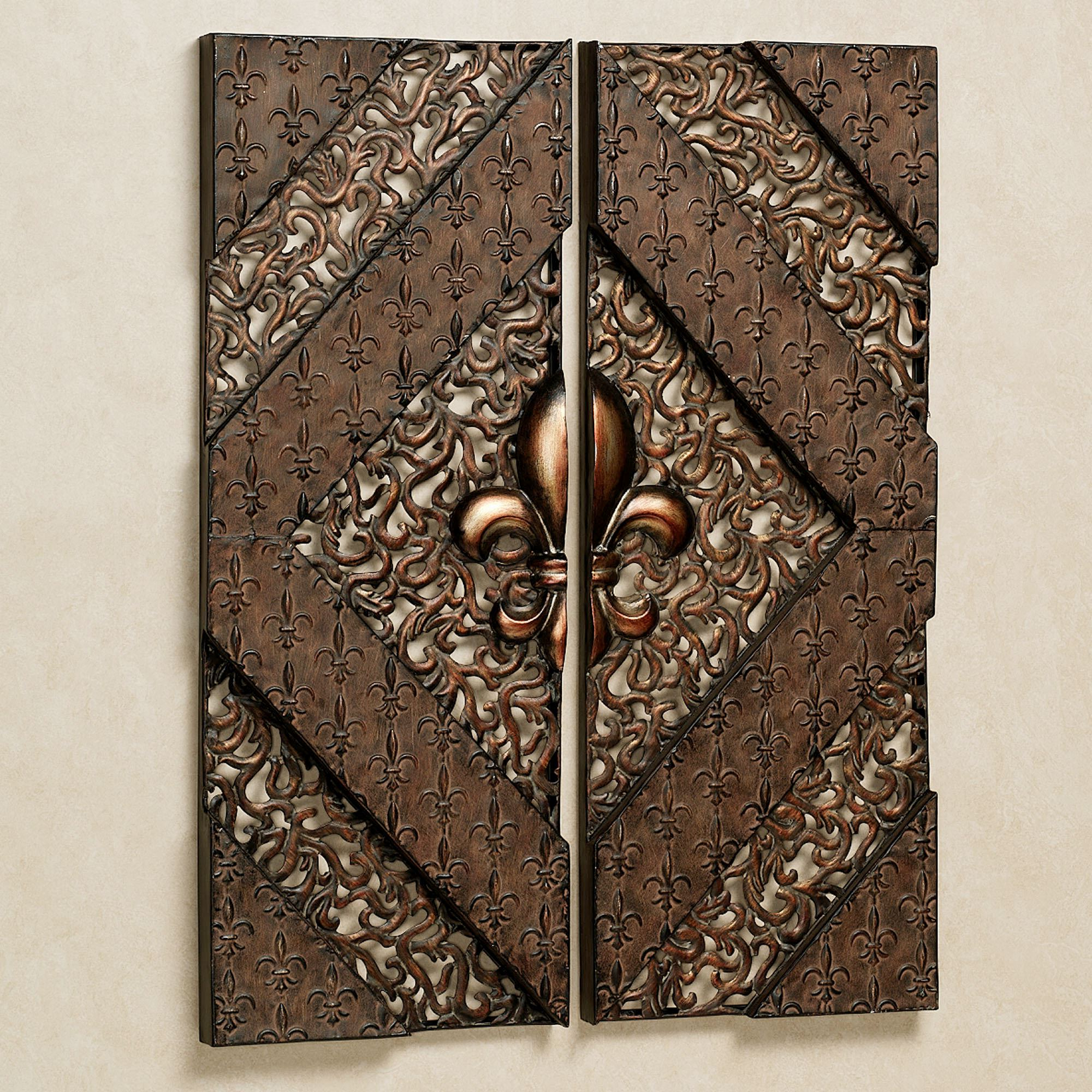 Most Recent Traditional Metal Wall Plaque For Fleur De Lis Metal Wall Panel Set (View 8 of 20)