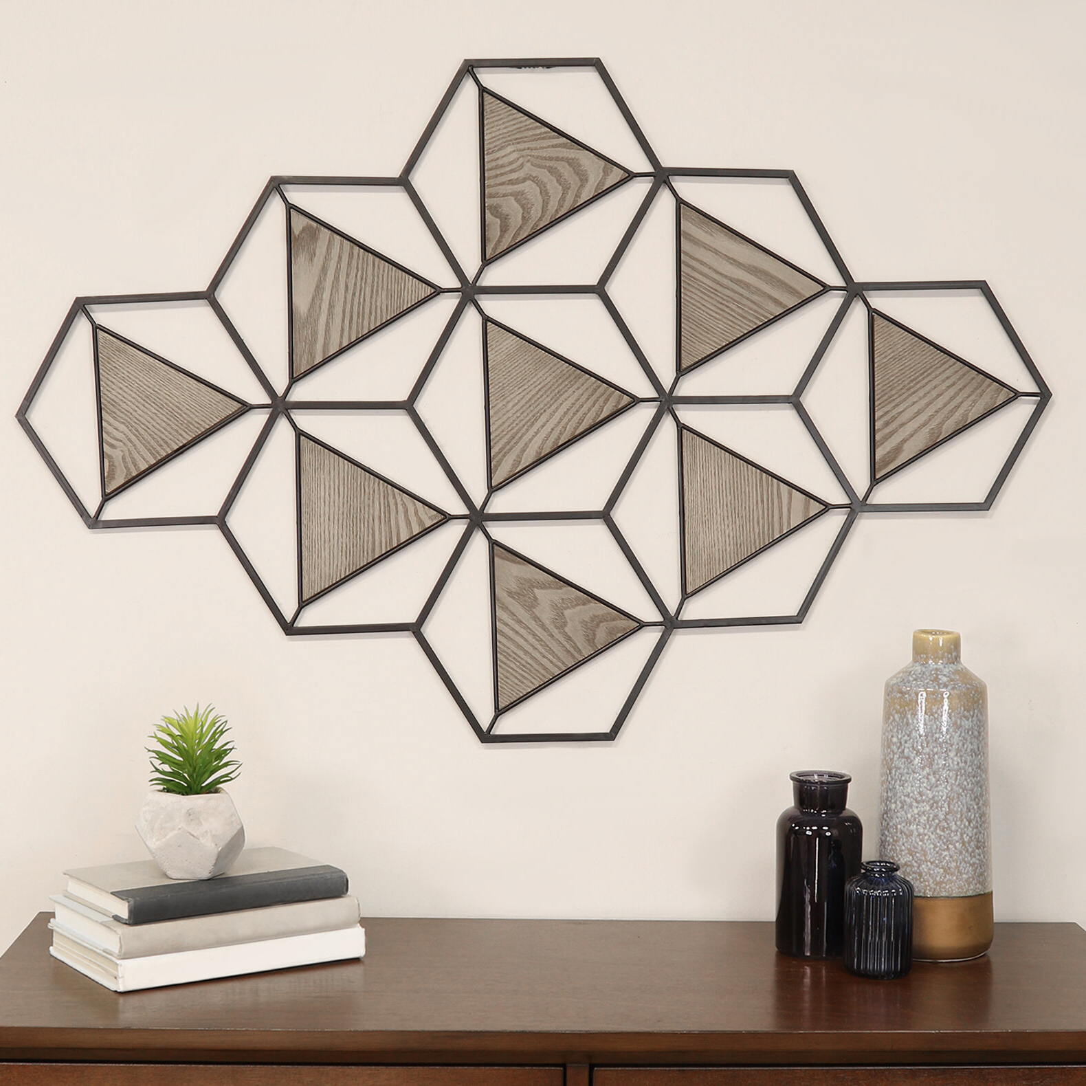 Most Recent Wall Décor By Latitude Run With Regard To Metal And Wood Triangle Abstract Centerpiece Wall Décor (View 2 of 20)