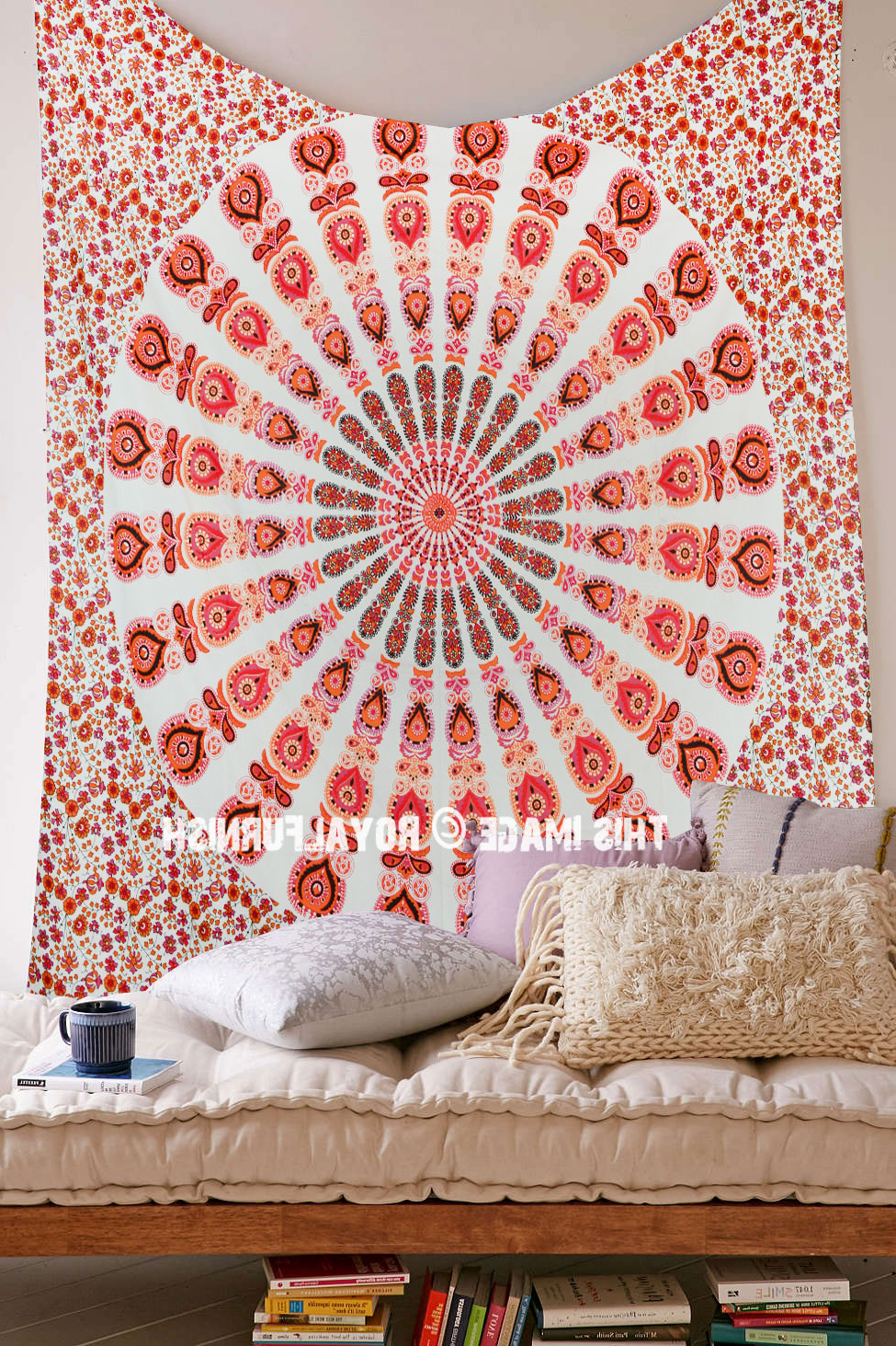 Most Recent White & Orange Mixed Mandala Tapestry, Hippie Boho Wall Hanging Bedspread Within Blended Fabric Southwestern Bohemian Wall Hangings (View 12 of 20)