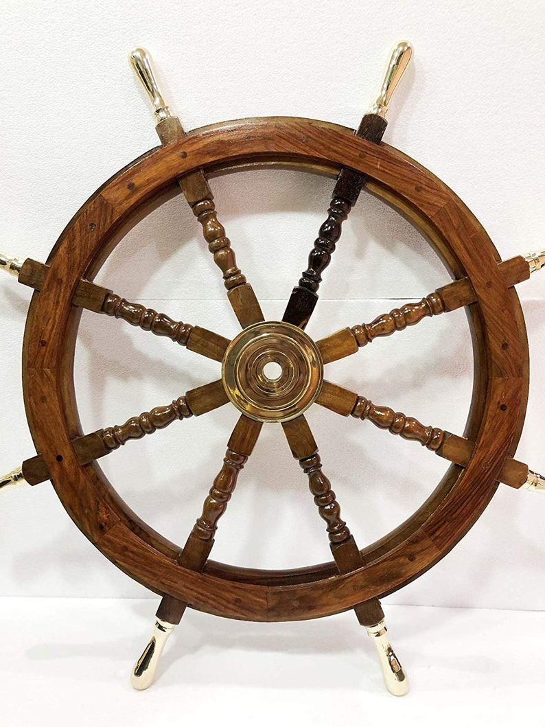 """Most Recently Released 36"""" Nautical Marine Wooden Steering Ship Wheel Brass Handle Pirate Captain Ship Wall Decor Regarding Brown/brass Wood Ship Wheel Wall Décor (View 10 of 20)"""