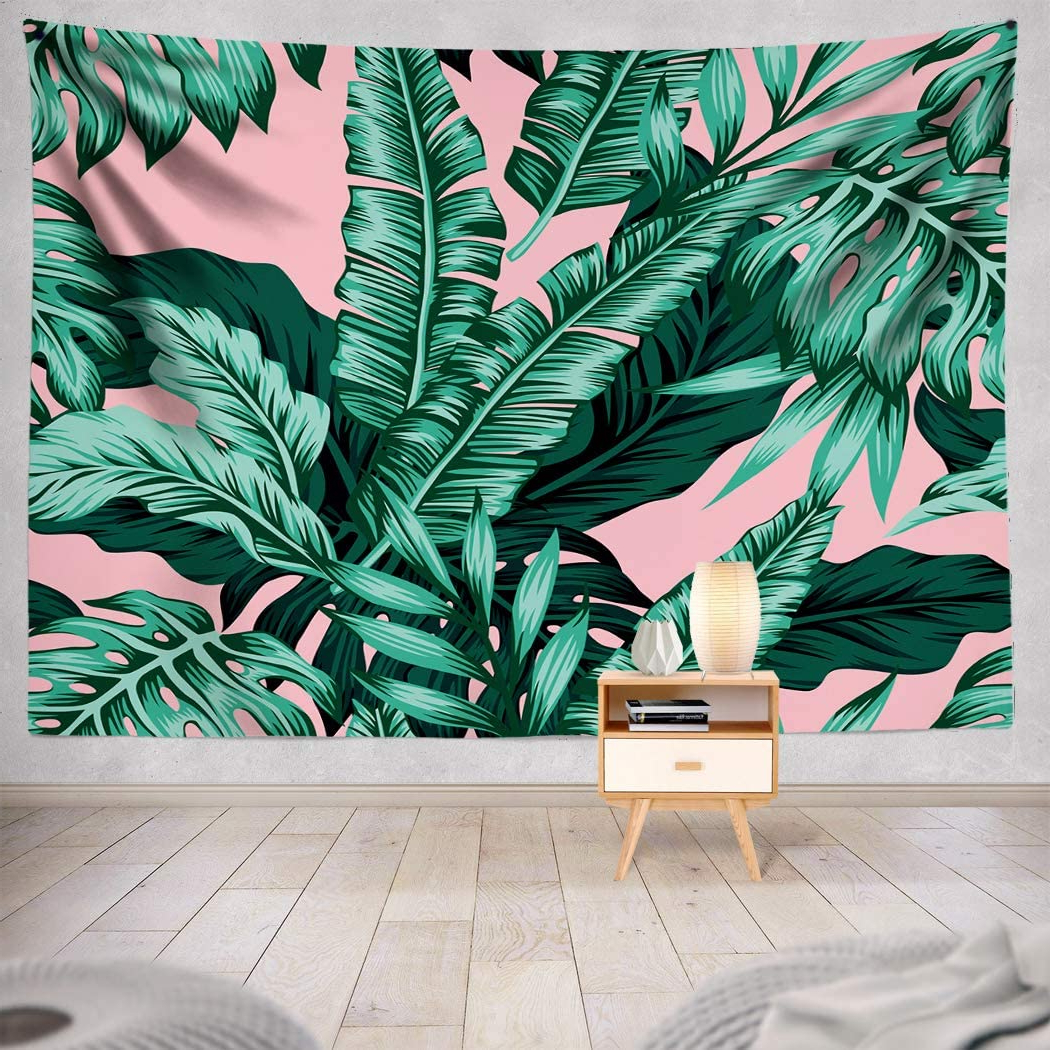 Most Recently Released Blended Fabric Leaf Wall Hangings For Asoco Tapestry Wall Hanging Tropical Green Leaves Pink Exotic Leaf Tropic Banana Palm Floral Flower Wall Tapestry For Bedroom Living Room Tablecloth (View 12 of 20)