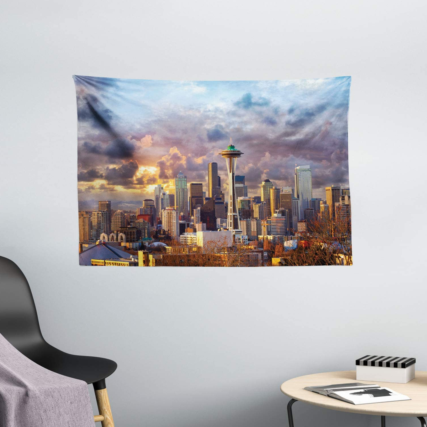 Most Recently Released Blended Fabric Ranier Wall Hangings With Hanging Accessories Included Throughout Ambesonne Usa Tapestry, Seattle Skyline At Sunset Wa United States Beams Through Dramatic Cloudscape Scenery, Wide Wall Hanging For Bedroom Living (View 18 of 20)