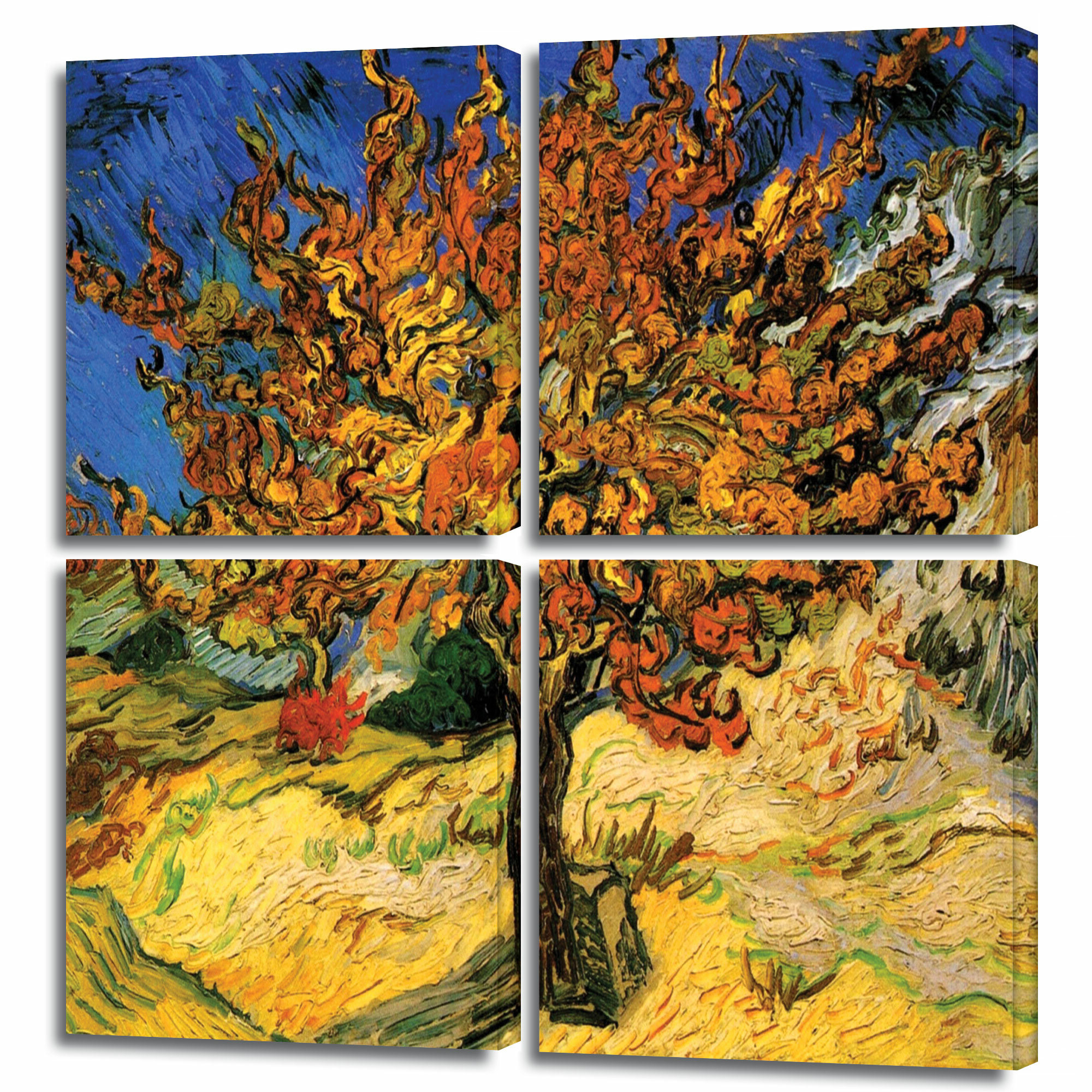 Most Recently Released 'mulberry Tree'vincent Van Gogh 4 Piece Painting Print On Wrapped Canvas Set Pertaining To Blended Fabric The Mulberry Tree – Van Gogh Wall Hangings (View 10 of 20)
