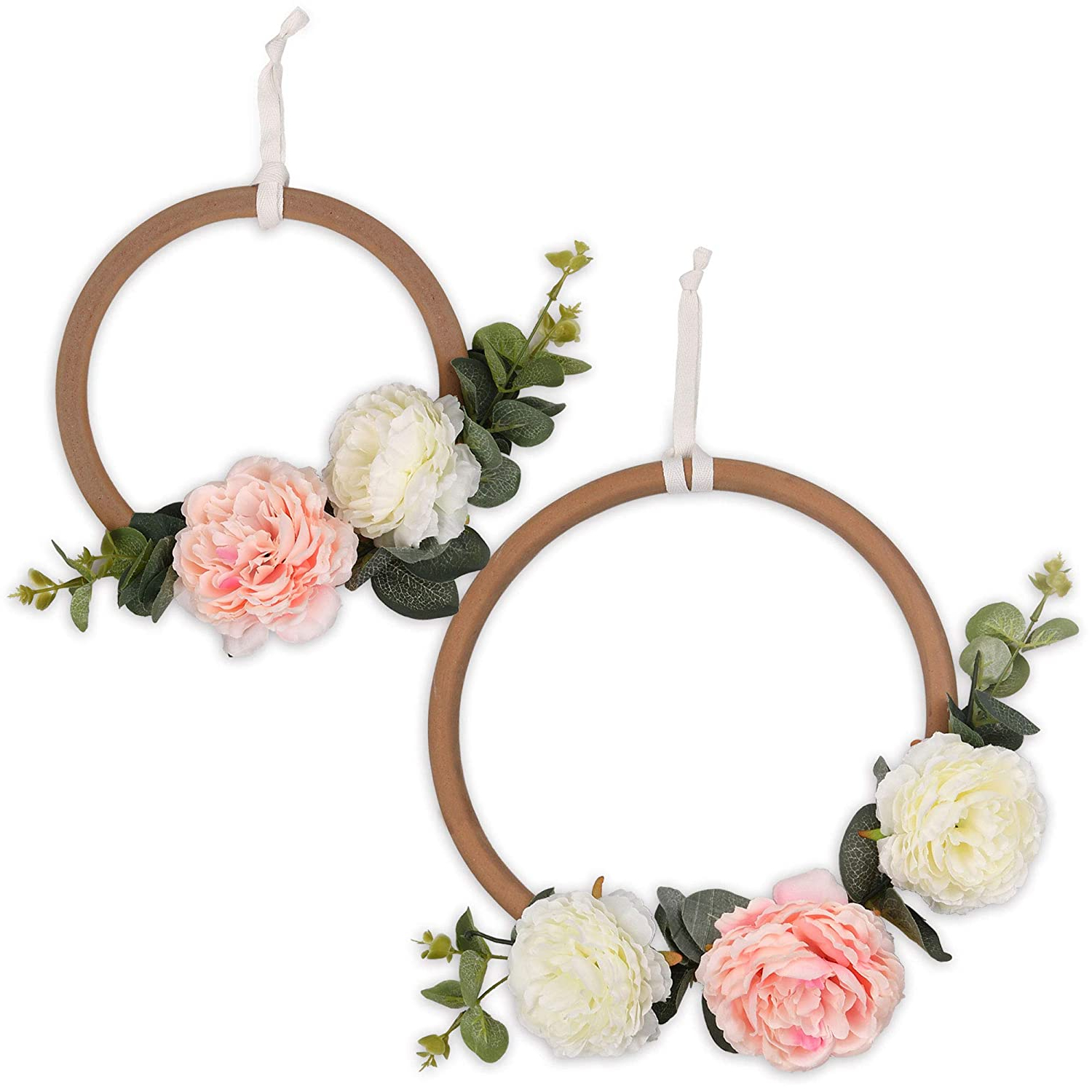 Most Recently Released Pink And White Floral Wooden Ring Nursery Wall Decor – Farmhouse Collection The Peanut Shell Within Rings Wall Décor (View 11 of 20)