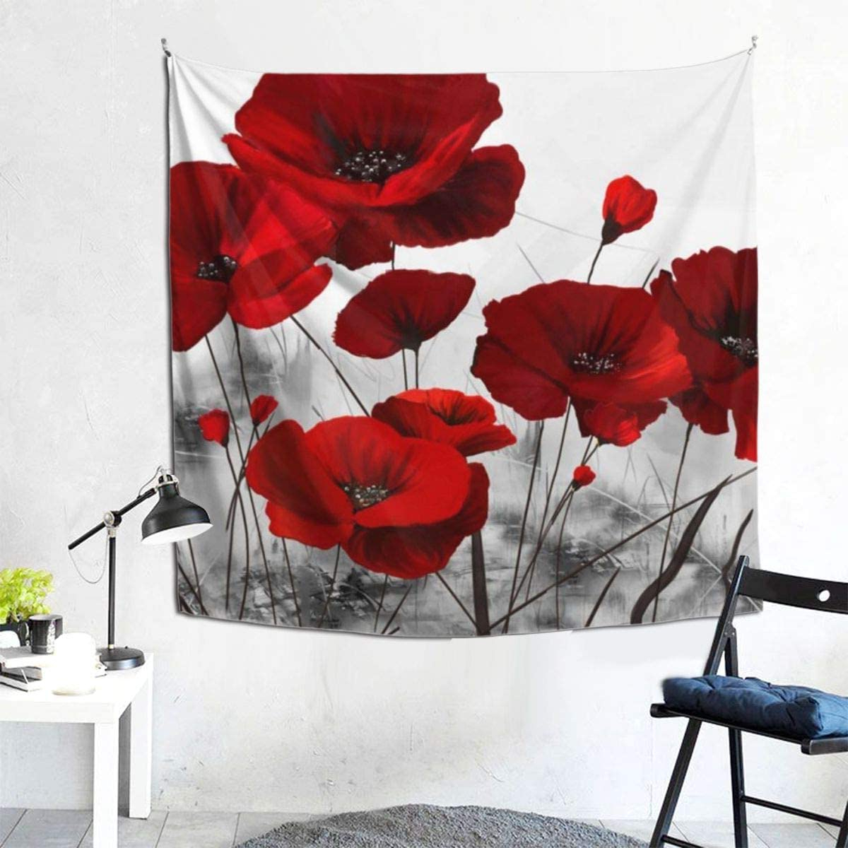Most Up To Date Amazon: Souer Wall Hanging Tapestries, Art Colorful Intended For Blended Fabric Poppy Red Wall Hangings (View 4 of 20)