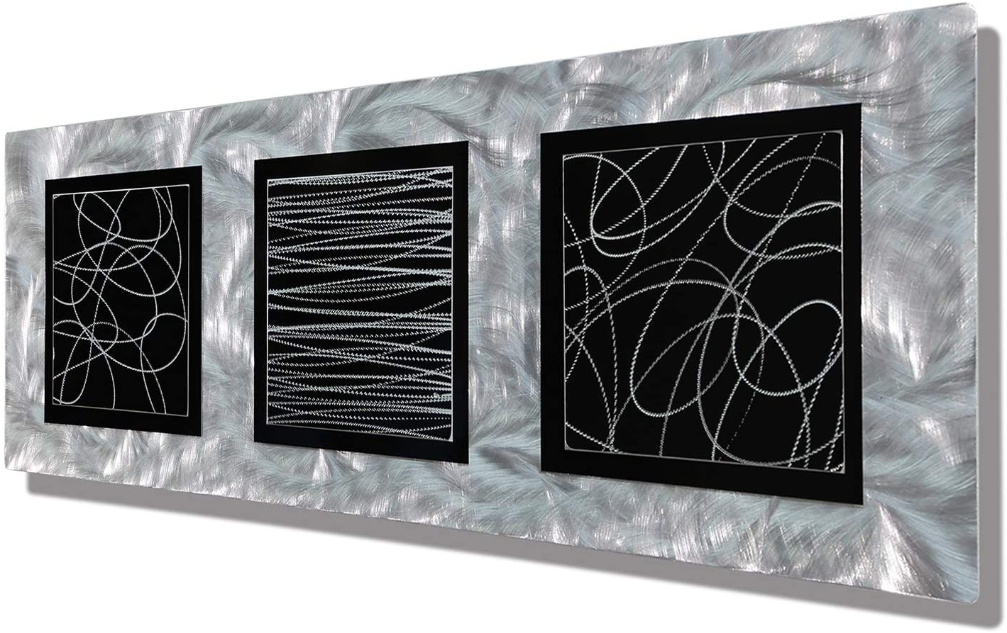 Most Up To Date Amazon: Statements2000 Modern Abstract Silver And Black Within Rectangular Metal Wall Décor (View 17 of 20)