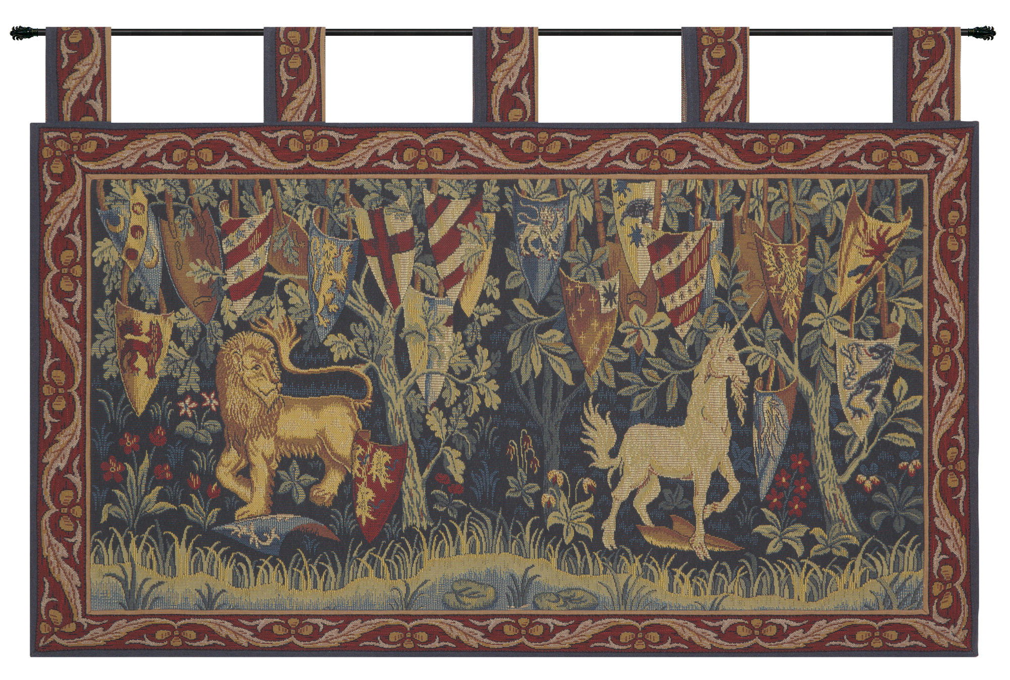 Most Up To Date Blended Fabric Lion Et Licorne Heraldiques Tapestry Inside Lion I European Tapestries (View 3 of 20)