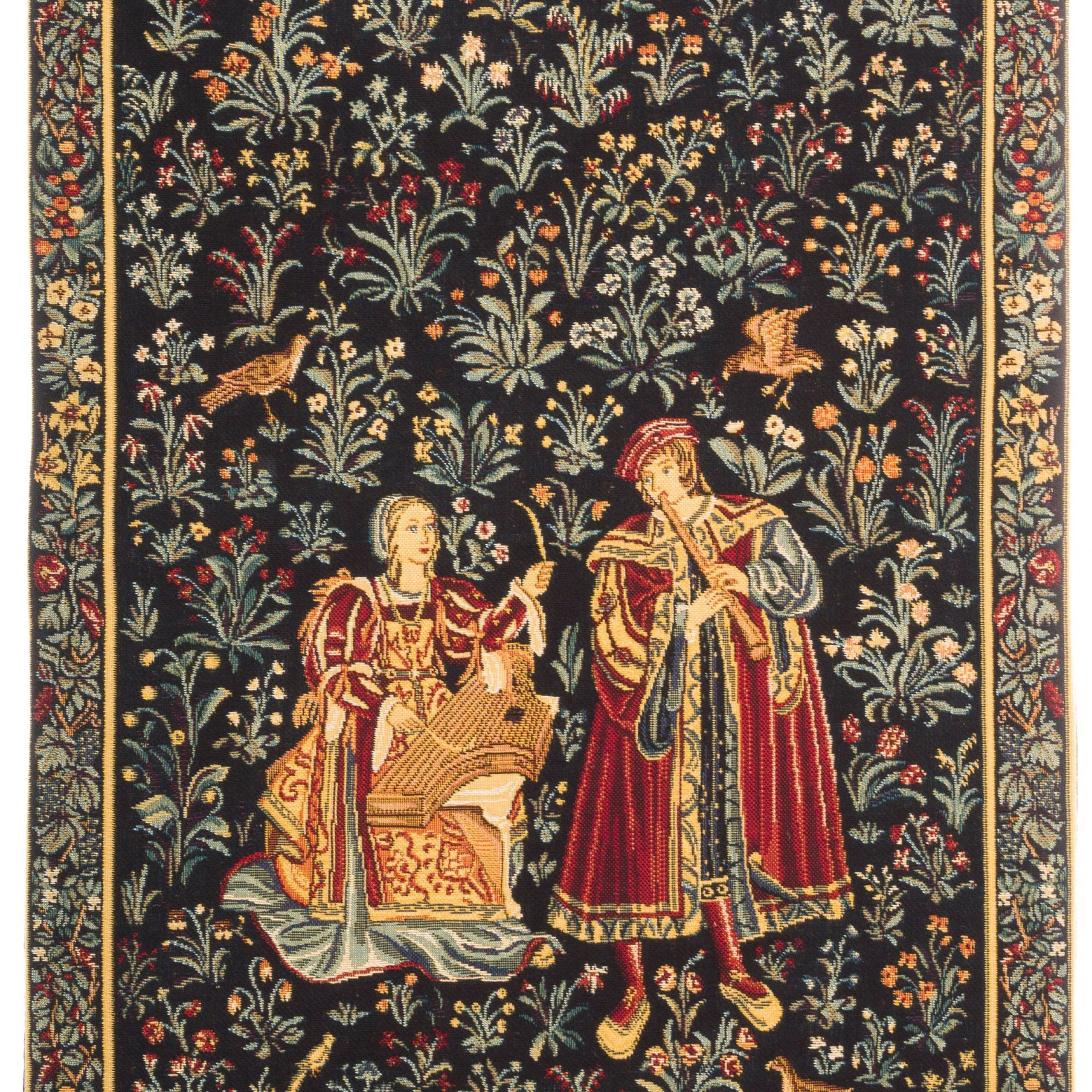 Most Up To Date Blended Fabric Woodpecker European Tapestries Pertaining To Medieval Tapestry Wall Hanging Concert Scene Millefleurs (View 10 of 20)