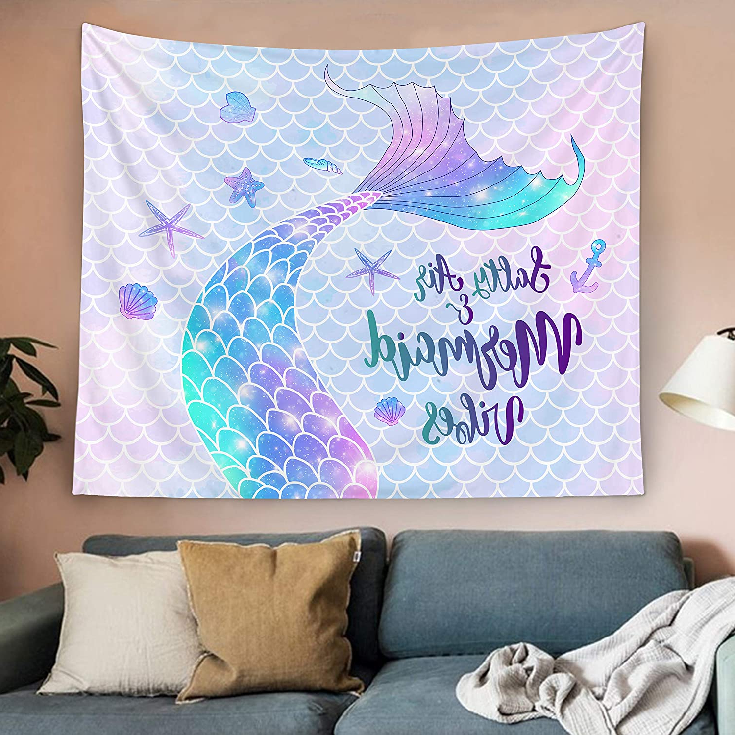 Most Up To Date Bonsai Tree Mermaid Tapestry, Mermaid Tail Scales Small Womens Tapestry Wall Hanging, Summer Beach Glitter Pink Purple Wall Tapestries For Bedroom With Regard To Blended Fabric Salty But Sweet Wall Hangings (View 12 of 20)