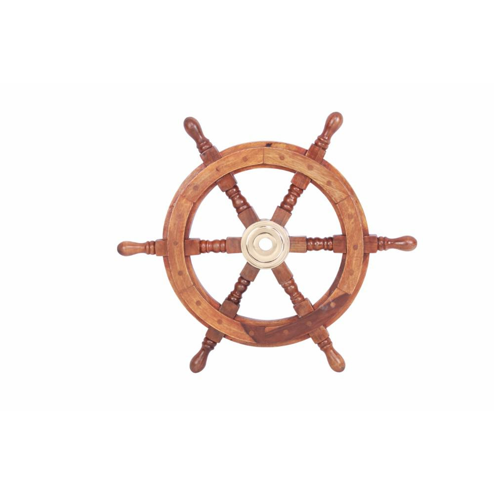 Most Up To Date Brown/brass Wood Ship Wheel Wall Décor For Benzara Sheesham Brown Wood And Brass Ship Wheel With 6 Spokes Bm34832 – The Home Depot (View 7 of 20)
