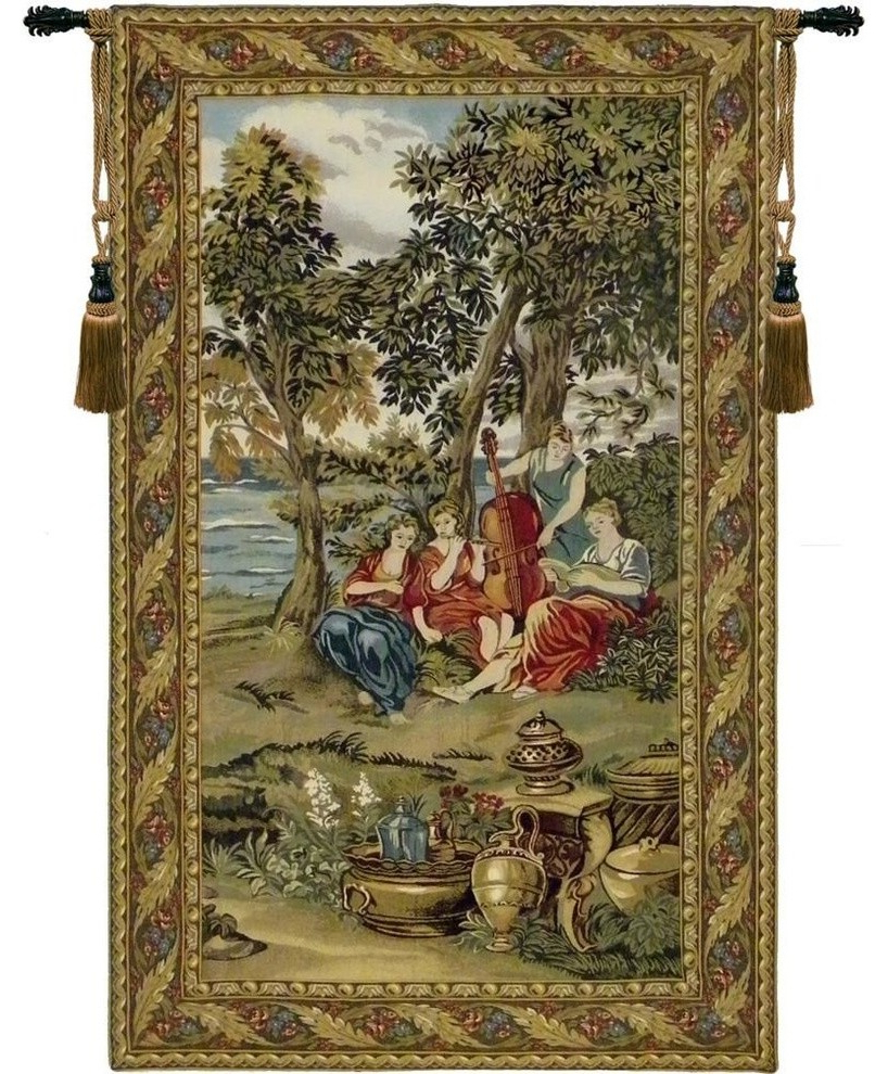Most Up To Date Concerto Tapestry Wall Hanging, Green Intended For European Le Point Deau Flamant Rose Tapestries (View 2 of 20)