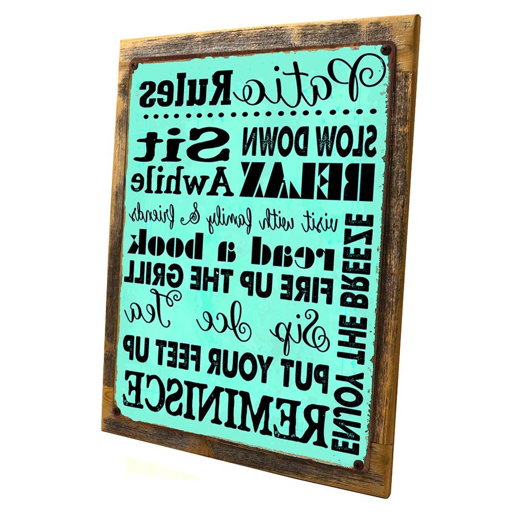 "Most Up To Date 'porch Rules' Metal Wall Décor With Framed, Outdoor Turquoise Patio Rules 9""x12"" Metal Sign, Wall Decor For Office Or Meeting Room, Hand Crafted From Reclaimed Materials – Walmart (View 15 of 20)"