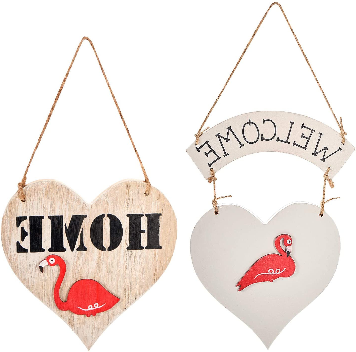 """Most Up To Date Yinasi 2pcs Welcome Door Sign, Heart Shaped Decorative Hanging Welcome Sign For Front Door Flamingo Aircraft Wood Sign Home Wall Decoration Throughout Heart Shaped """"home"""" Sign Wall Décor (View 5 of 20)"""