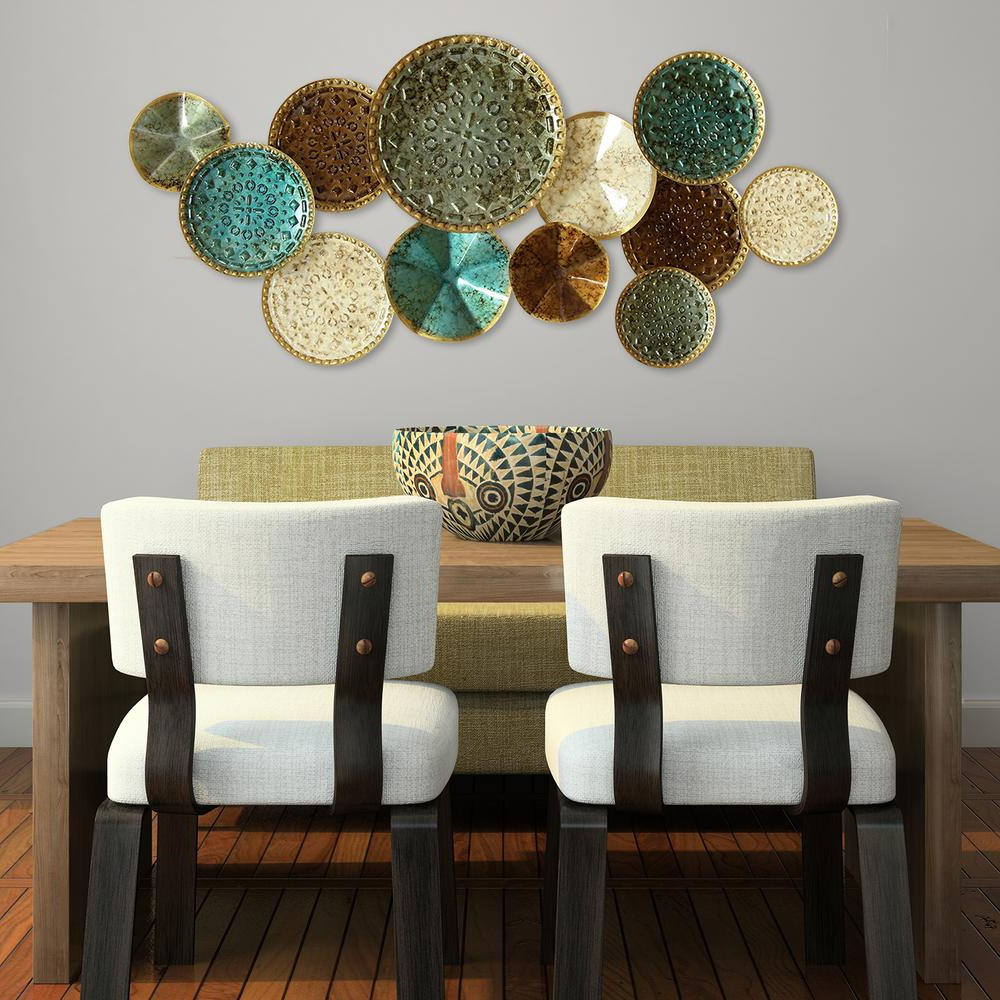 Multi Circles Wall Décor For Most Up To Date Stratton Home Decor Multi Metal Plate Wall Decor S01657 – The Home Depot (View 17 of 20)