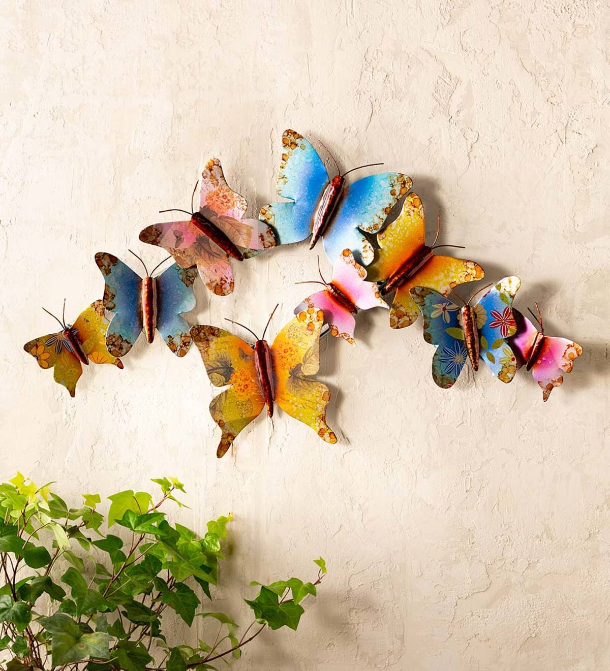Multicolored Butterfly Bouquet Wall Décor Inside Well Known Colorful Indoor/outdoor Metal Nine Butterfly Wall Art (View 10 of 20)