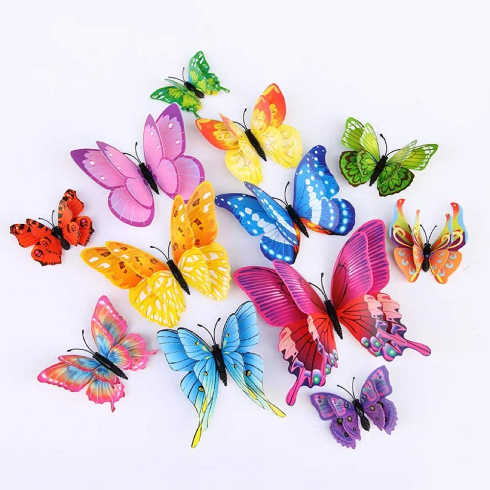 Multicolored Butterfly Bouquet Wall Décor Pertaining To Most Recently Released 24pcs Colorful Butterfly Wall Stickers Diy Art 3d Double Wings Decor Magnets Murals Stickers For Kids Girls Baby Women Bedroom Bathroom Living (View 3 of 20)