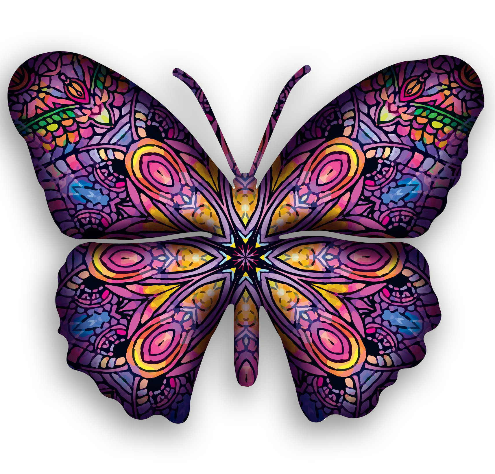 Multicolored Butterfly Bouquet Wall Décor Pertaining To Well Known Steel Patchouli Butterfly 3d Wall Decor (View 16 of 20)