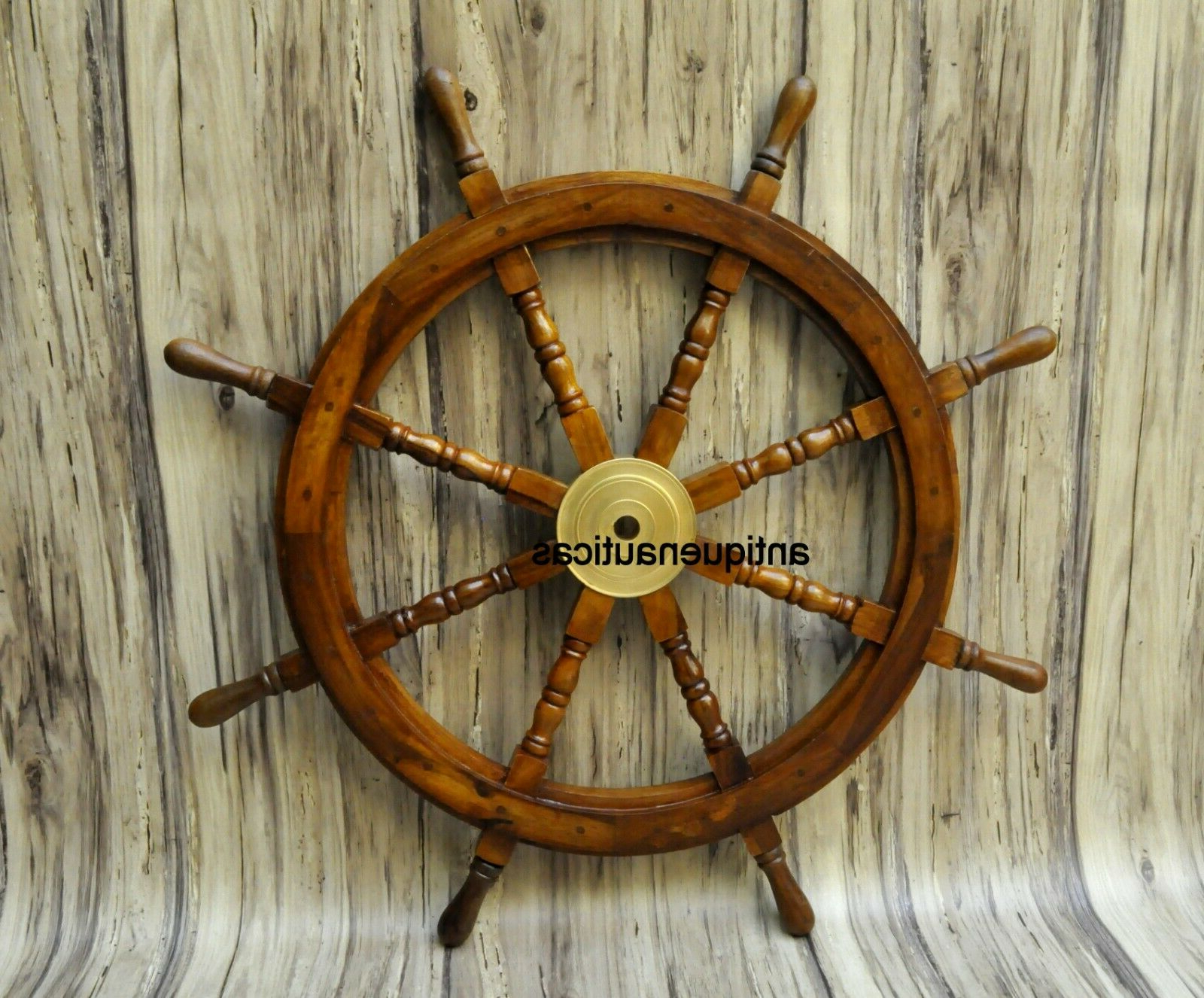 """Nautical 36"""" Wooden Ship Steering Wheel Pirate Decor Wood Within Newest Brown/brass Wood Ship Wheel Wall Décor (View 13 of 20)"""