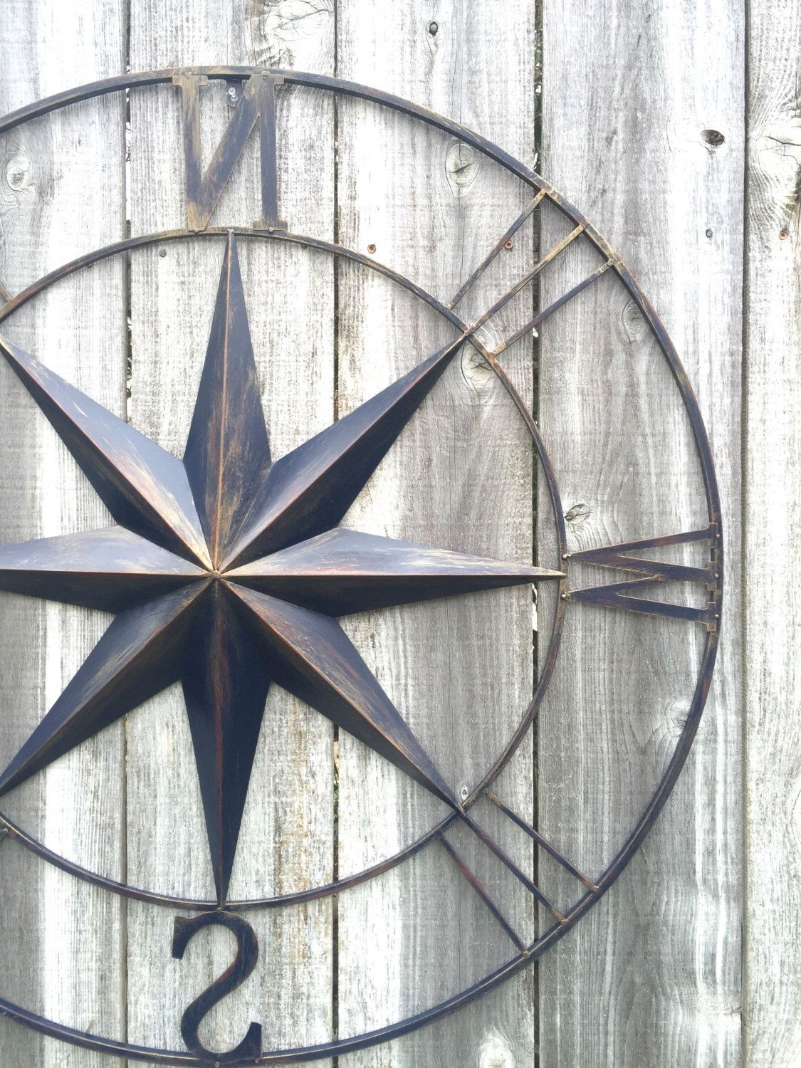 Nautical Decor, Navy Blue Compass, Compass Wall Art, Metal Inside 2020 Compass Metal Wall Décor By Beachcrest Home (View 20 of 20)