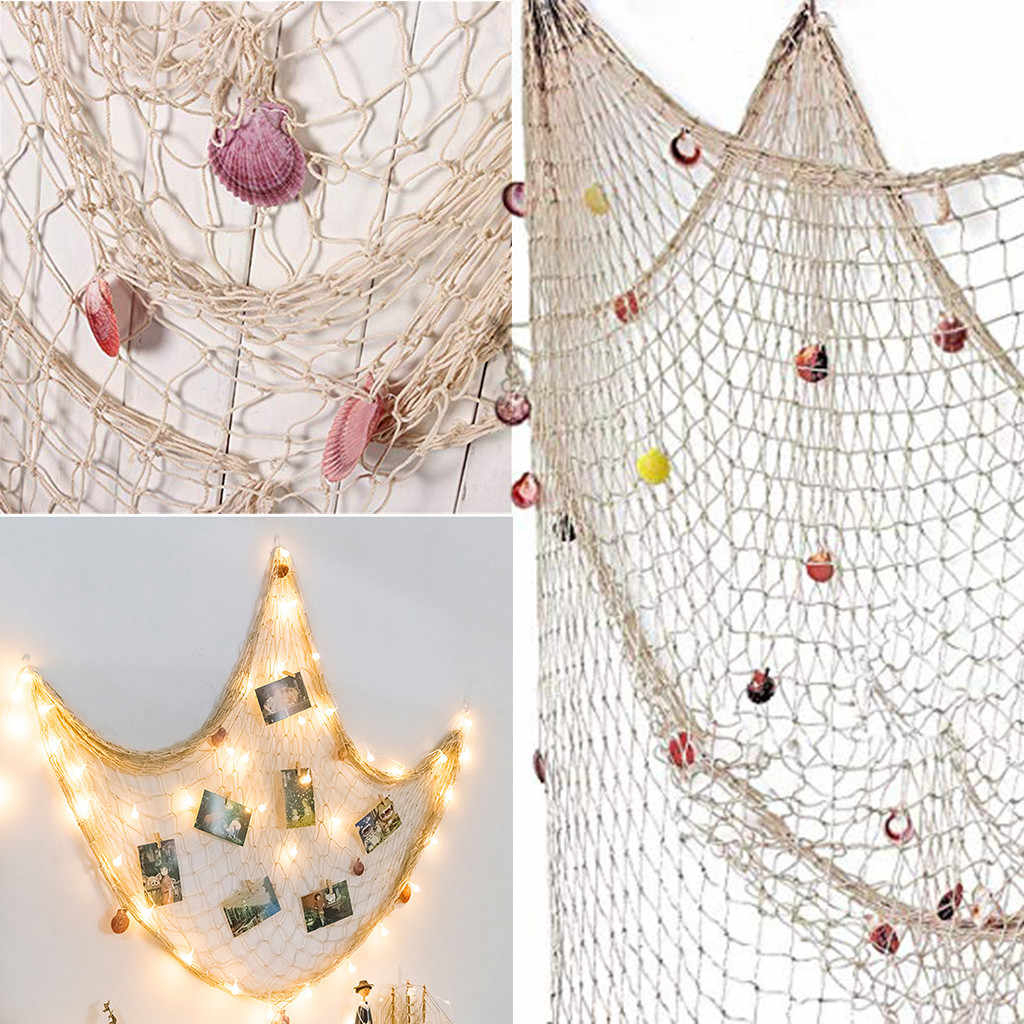 Nautical Decorative Fishing Net Sea Theme Fish Net Decor For Wall Decoration Background Handmade Beige/blue 200cmx150cm July18b Within Famous Handcrafted Hanging Fish In Net Wall Décor (View 12 of 20)