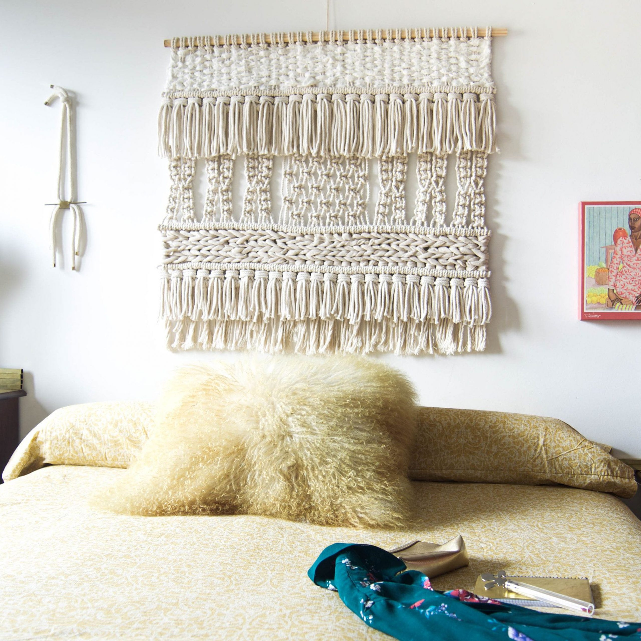 Neutral Tropical Macrame Wall Artranran Design Throughout 2019 Blended Fabric Trust In The Lord Tapestries And Wall Hangings (View 14 of 20)