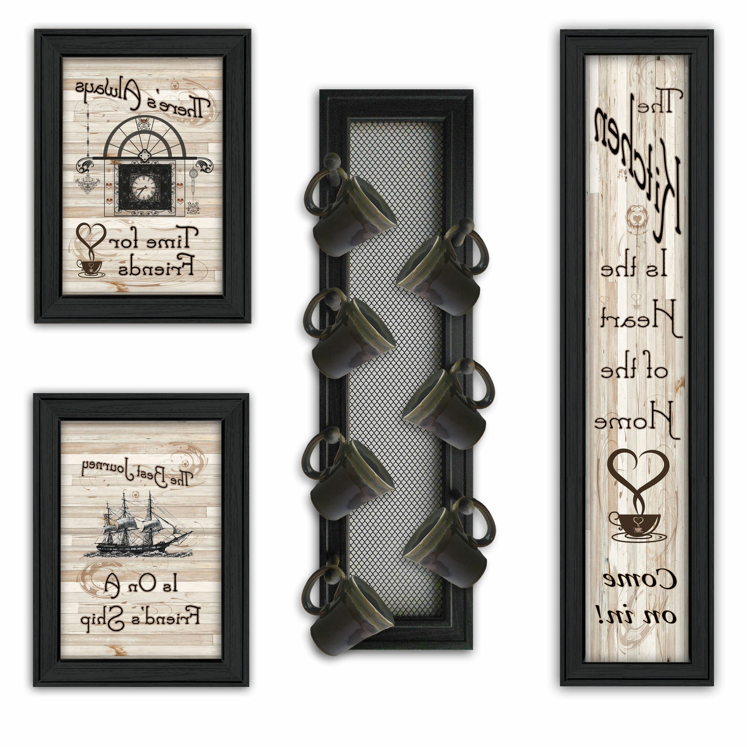 """Newest 4 Piece Kitchen Wall Décor Set Within Heart Shaped """"welcome"""" Sign Wall Décor By August Grove (View 8 of 20)"""