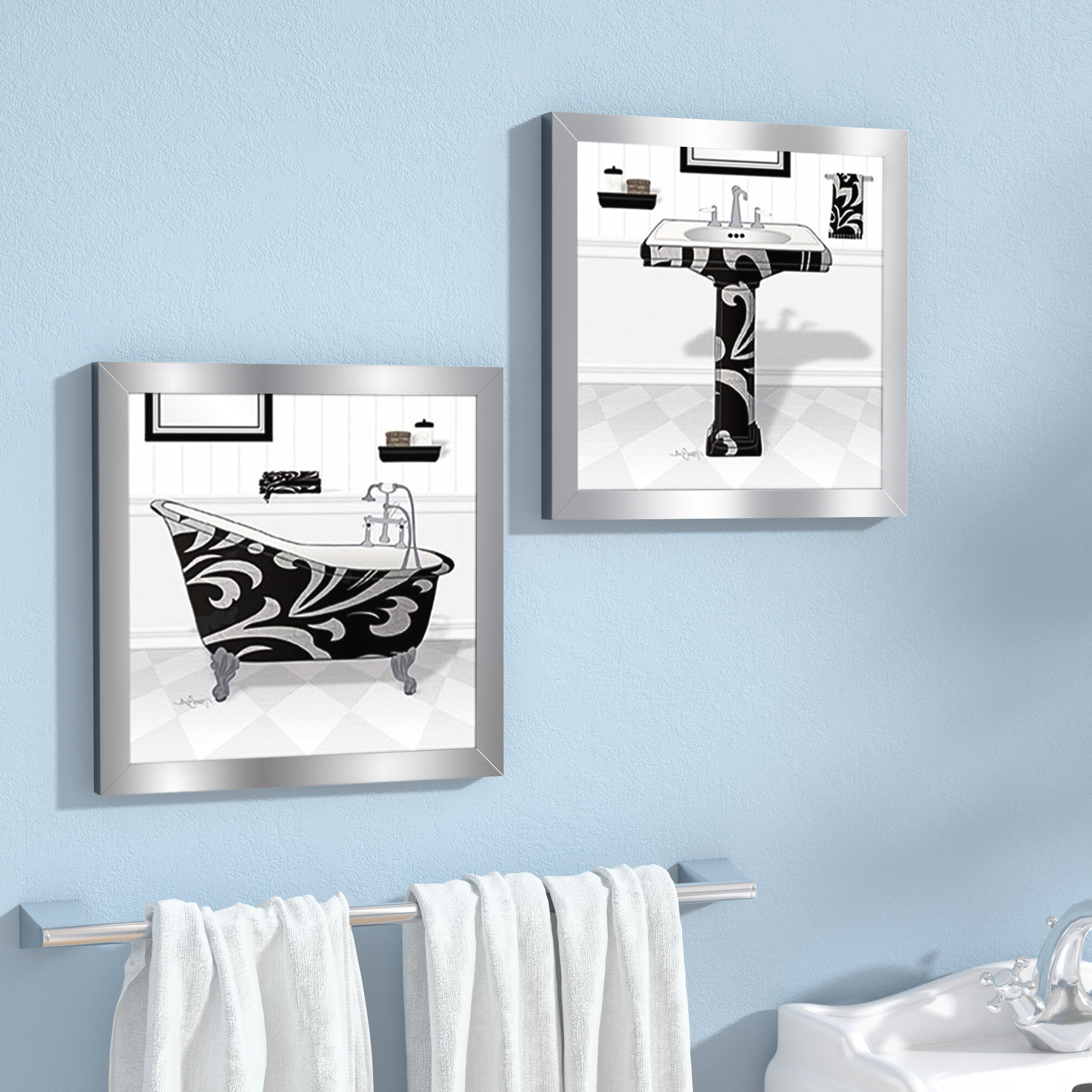 """Newest 6"""" Chrome Poop Deck Sign Wall Décor Inside 'black Damask Tub' 2 Piece Framed Acrylic Painting Print Set Under Glass (View 15 of 17)"""
