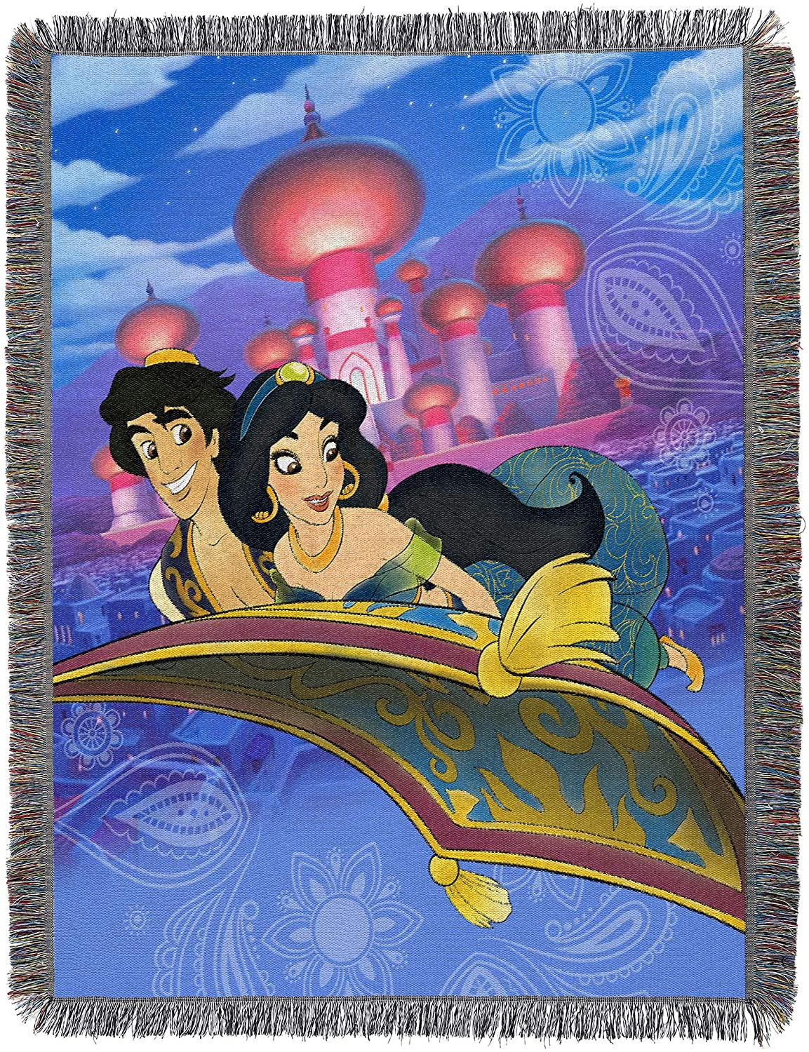 """Newest Blended Fabric Aladin European Wall Hangings For Disney Aladdin, A Whole New World Woven Tapestry Throw Blanket, 48"""" X 60"""" (View 16 of 20)"""