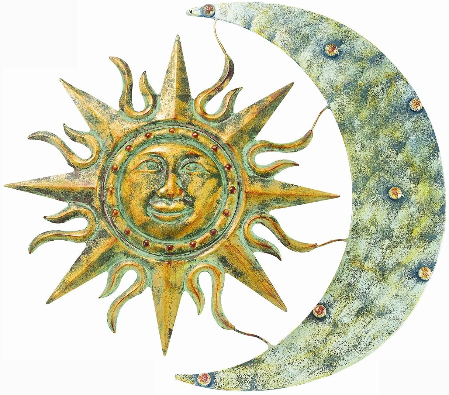 Newest Blended Fabric Celestial Wall Hangings (set Of 3) For Sun With Moon Faces Wall Decor Metal Celestial Art For Sale (View 12 of 20)