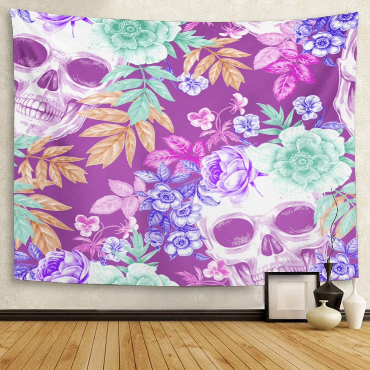 """Newest Emvency 60""""x80"""" Tapestry Mandala Hippie Wall Hangings Wreaths Of Garden Flowers And Skulls Roses Peonies For Fabrics Retro Vintage Intended For Blended Fabric Irises Tapestries (View 18 of 20)"""