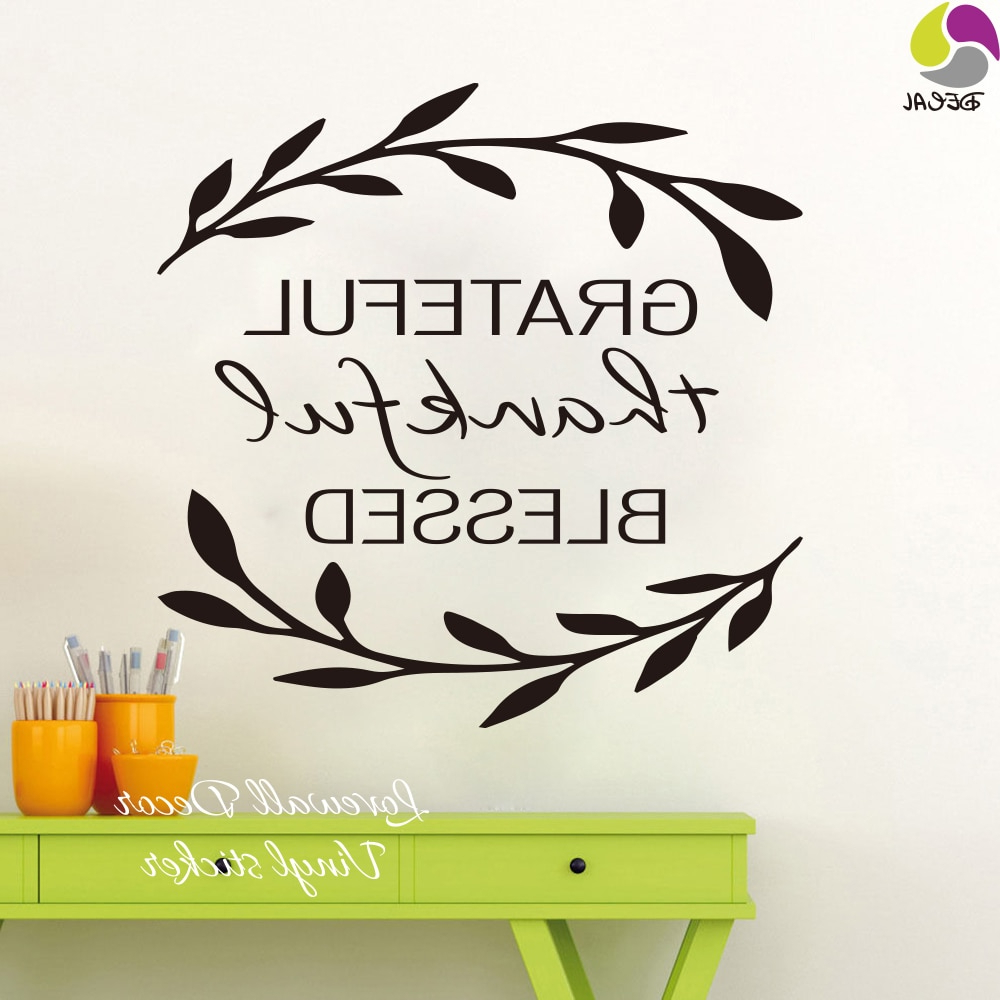 Newest Grateful, Thankful, Blessed Wall Decor In Grateful Thankful Blessed Wall Sticker Living Room Bedroom Family Love Quote Wall Decal Tree Vinyl Home Decor Easy Wall Art (View 12 of 20)